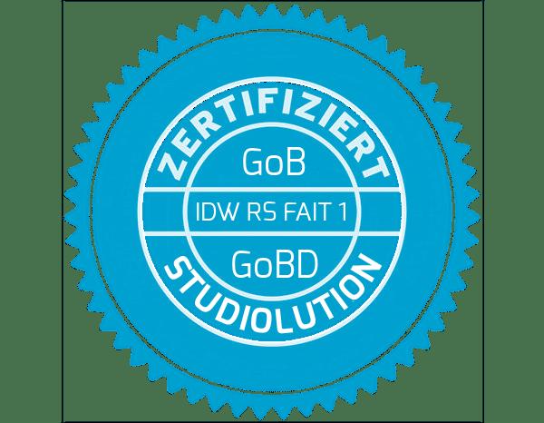 studiolution zertifiziert die Kassensoftware nach GoBD
